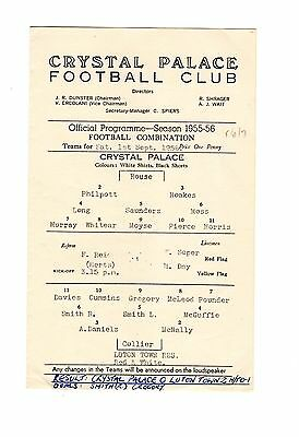 Crystal Palace v Luton Town Reserves Programme 1.9.1956
