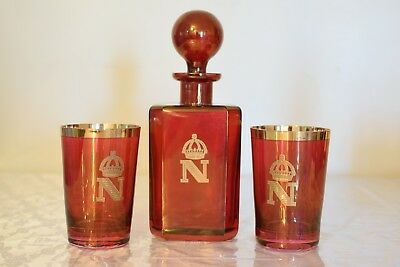 Vintage Venetian Set Of 2 Ruby Red Glasses With Decanter Gold Overlay Napoleon