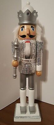 """Silver King Soldier Nutcracker Sequins Wooden 15"""" Christmas Holiday Decor NEW"""