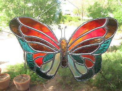 Vtg Stained Glass Butterfly Window Sun Catcher...Colorful & Lovely!