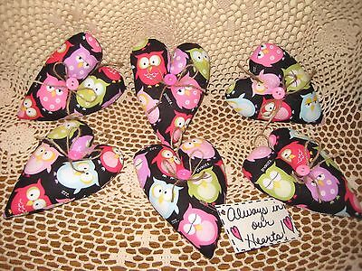 Set of 6 handmade fabric owl heart ornaments Valentine garland-making Home Decor