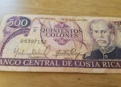 Old Collectible Banknotes Costa Rica