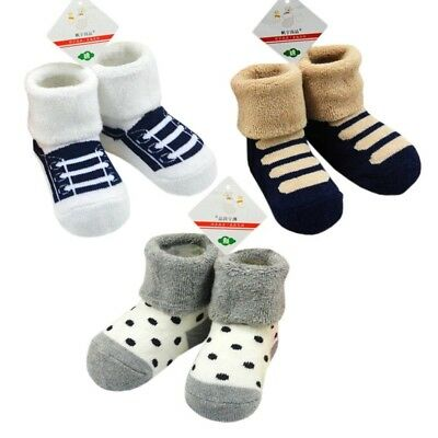 (color B) - 3 Pair Lovely Baby Winter Socks Cotton Tube Stockings Thickening