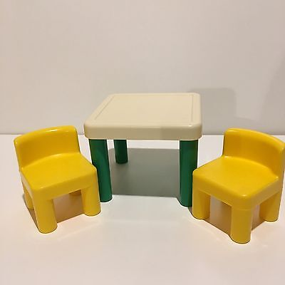 Vintage Little Tikes Dollhouse Table And Chairs Miniature Doll House