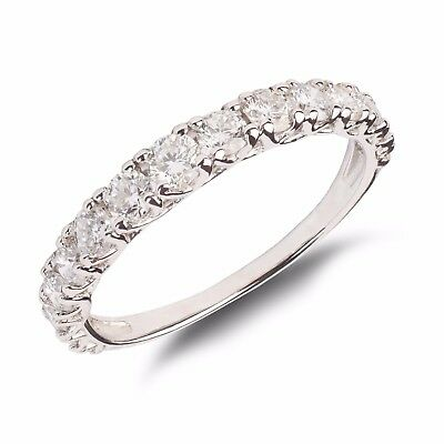 VVS/E18ct White gold Certified Half eternity natural diamond ring