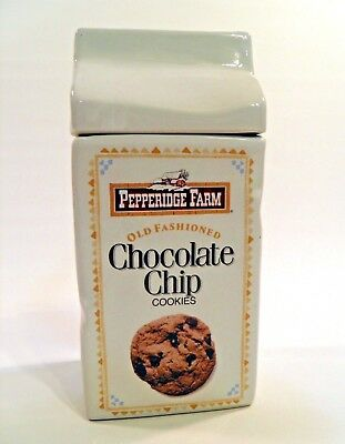 1991 Vtg Pepperidge Farm Ceramic Cookie Jar Chocolate Chip Ginger Man NEW