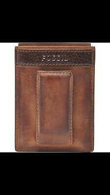 Fossil Quinn Magnetic Brown Card Case Leather Wallet ML3676200 - New in Box