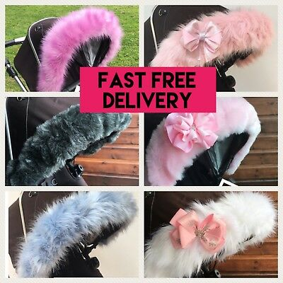 Pram Pushchair Hood Fur Trim,FAST DELIVERY, FUR, PRAM BUGGY UNIVERSAL