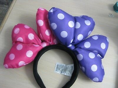 Disney Parks Large Purple and Pink Polka Dot Bow Minnie Ears Adult Headband
