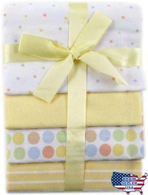 Luvable Friends 4-Pack Flannel Receiving Blankets, Yellow, New, Free Ship