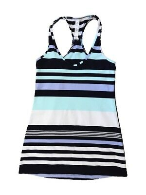 Lululemon Tank Top Size 6 Striped Groovy Mint White Blue Purple Racerback Yoga