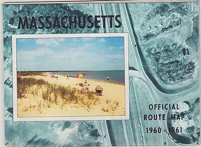 1960 State Issue Road Map Of Massachusetts