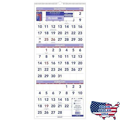 AT-A-GLANCE Wall Calendar, 2018, December 2017 - January 2019, 3-Month Display,