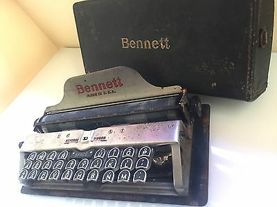 Bennet Miniature Portable Typewriter with Original Case Made in USA - VERY RARE