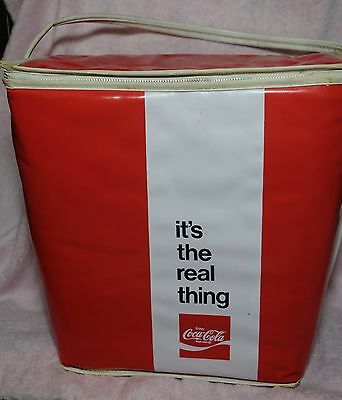 """VTG 1960s Vinyl Cola Coke Summer Tote Cooler Red White """"its the real thing"""""""