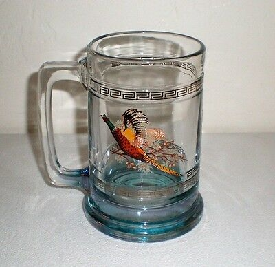 "Heavy Glass Beer Stein/Tankard/Mug ""Pheasant Design"" Mint Condition"