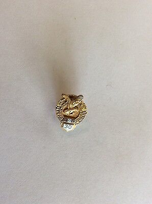 Vintage Fraternal Order Of Eagles FOE 30 Years CTO 1/10 10k Gold Screwback Pin