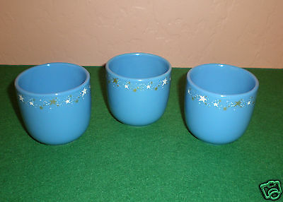 Set of (3) Avon Sleep Time Tea Cups - Blue with Gold/White Stars