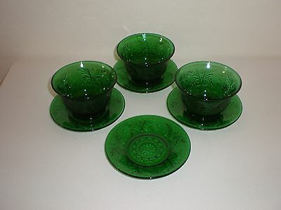 "7 Pc. Anchor Hocking Sandwich Glass ""Forest Green"" Custard Cups/Bowls & Liners"