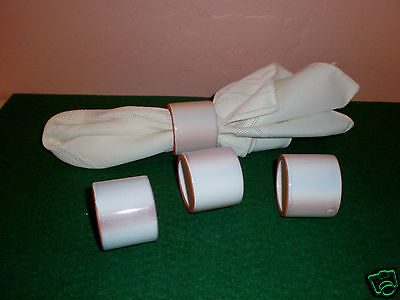 Set of (4) Ceramic Pottery Napkin Rings - Off White with Lightly Brown Shading