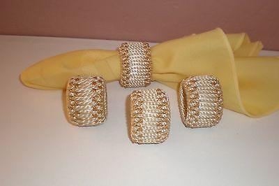 Set of (4) Macramé Cord Napkin Rings - Neutral & Tan in Color- Just Gorgeous!