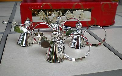 """Set of (4) Silverplated Napkin Rings """"Heavenly Angel Band"""" May Department Stores"""