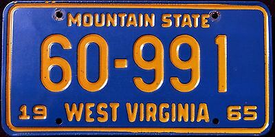 "WEST VIRGINIA "" MOUNTAIN STATE "" 1965 WV Vintage Classic License Plate"