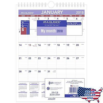 """AT-A-GLANCE Monthly Wall Calendar, January 2018 - December 2018, 8"""" x 11"""", Wireb"""