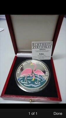 1994  central america 5 oz Silver Proof Coin coa box
