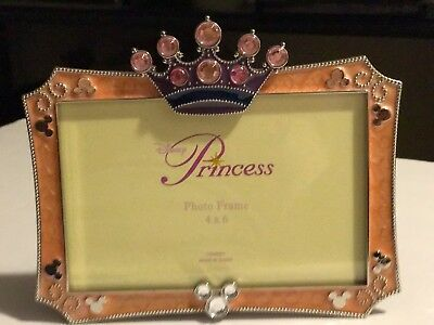 """Disney Parks Princess Pink Crown 4"""" x 6"""" Picture Photo Frame ~ NEW with BOX ~"""