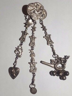 Superb Antique Sterling Large English Chatelaine - Whistle Rattle, Heart & Coin