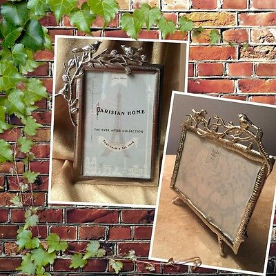 "Metal Photo Frame Birds 4x6"" Silver Tone Available Vertical And Horizontal New"