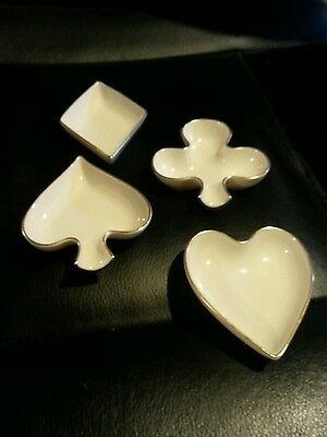 Vintage set of four Lenox gold trimmed ashtrays - diamond, heart, club and spade