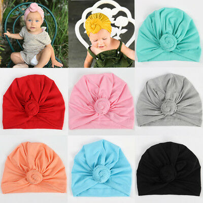 New Cute Kids Baby Knotted Turban Hat Cap Head Wrap Girls Boys Soft Beanies Cap
