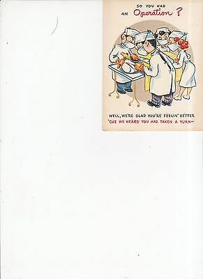 Vintage 1940's So you had an Operation greeting card