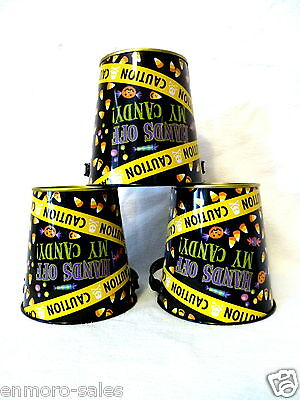 12 Small Hands Off My Candy Caution Tape Halloween Metal Treat Buckets