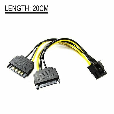 20cm 15pin SATA Male To 8pin(6+2) PCI-E Power Supply Cable Cable SATA Cable DU