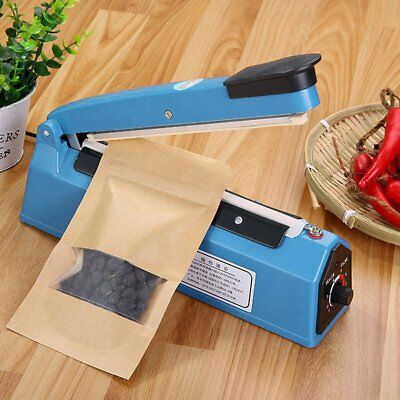 "8"" Heat Sealing Hand Impulse Sealer Machine Poly Free Element Metal Sealer NewDU"
