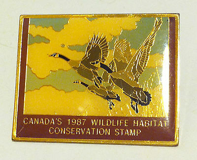 CANADA'S 1987 WILDLIFE HABITAT CONSERVATION STAMP LAPEL PIN BY GEORGE McLEAN