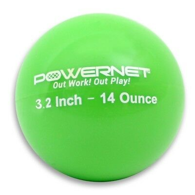 (14 Oz - Green) - PowerNet 8.1cm Weighted Hitting and Batting Training Ball (6