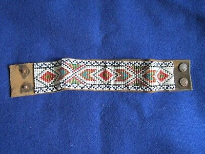 Beautiful Antique / Vintage Native American Indian Art Beaded Leather Bracelet