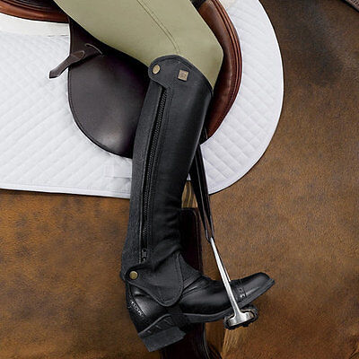 NEW Ovation Precision Fit Leather Half Chaps - Black & Brown - 12x16 to 16x19