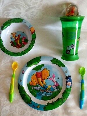 Disney Winnie The Pooh Melamine Child's Dinner Plate Cup Cutlery Set