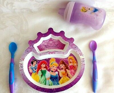 My First Years Disney Princess  Melamine Crown Shaped Dinner Plate Cup Cutlery