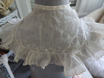 Antique Hand Made New England Attic Find c. 1830's Collar Bertha Embroidery ID'd