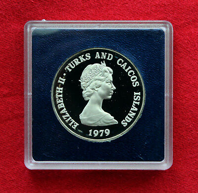 1979 Turks & Caicos Islands 10th Anniv Prince Charles Silver Proof 10 Crowns!!