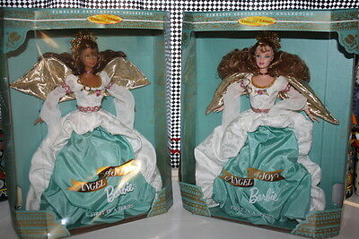 Lot of TWO Collector Barbie dolls Angel of Joy African American and Caucasian