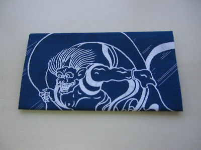 Japanese traditional towel TENUGUI  Navy blue Fujin Raijin NEW