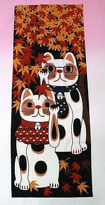 Japanese traditional towel TENUGUI Maneki neko Happy Cat MAPLE MADE IN JAPAN