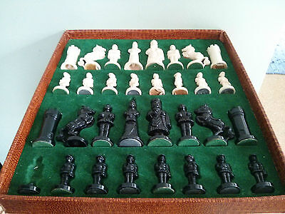 """Vintage plastic chess set in original box with 13"""" board"""